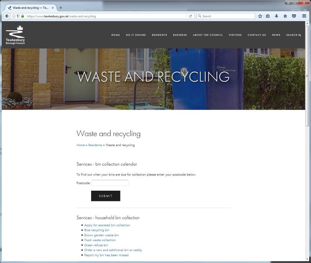 Waste and recycling page