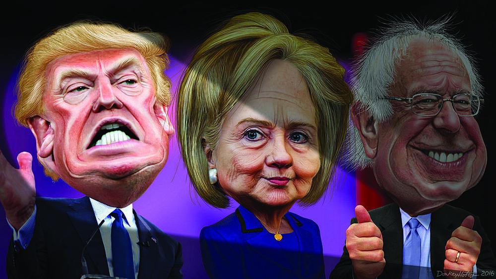 Photos courtesy of Flickr  An illustration of Donald Trump, Hillary Clinton, and Bernie Sanders.