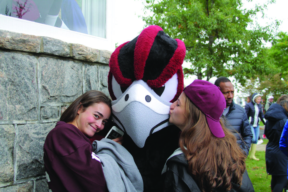 Photo Courtesy of Maria Hatzioanidis  Felix the Falcon with Some Fans at the Soccer Game.