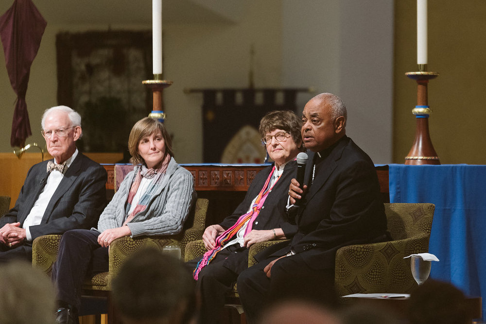 From left to right: Justice Norman Fletcher, Susan Casey, Sister Helen Prejean, and The Most Rev. Wilton D. Gregory