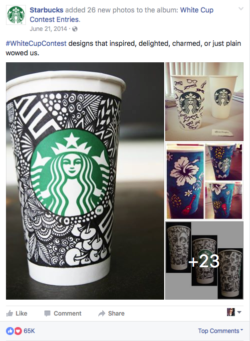 Starbucks user generated content contest example