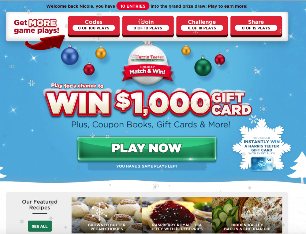 harris teeter gamified sweepstakes splash page