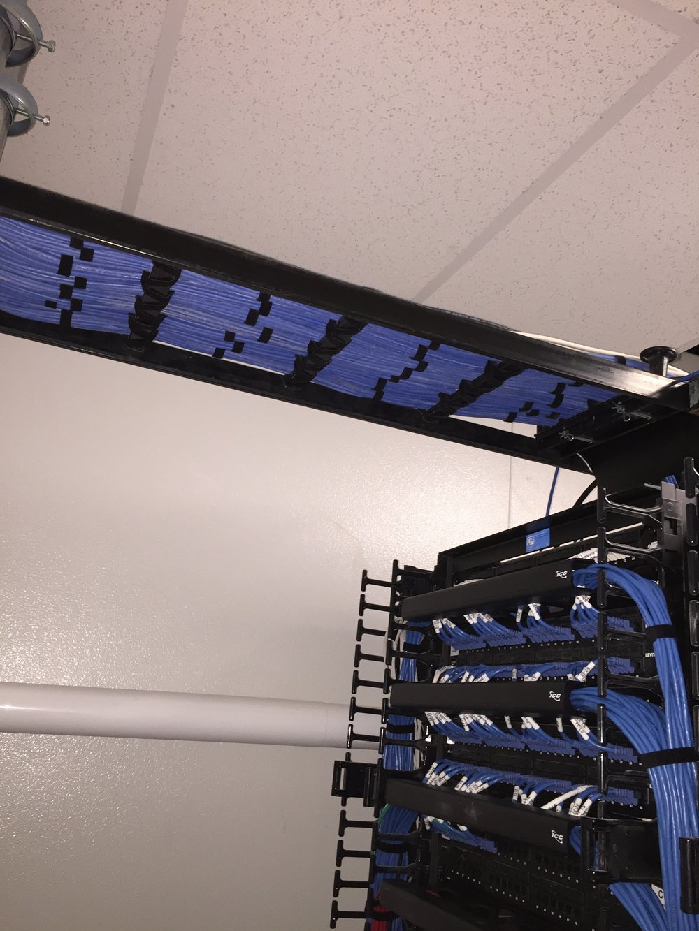 Ethernet Cable Routed into IT Rack