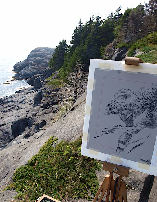 Sketching Gull Rock on Monhegan's eastern cliffs...