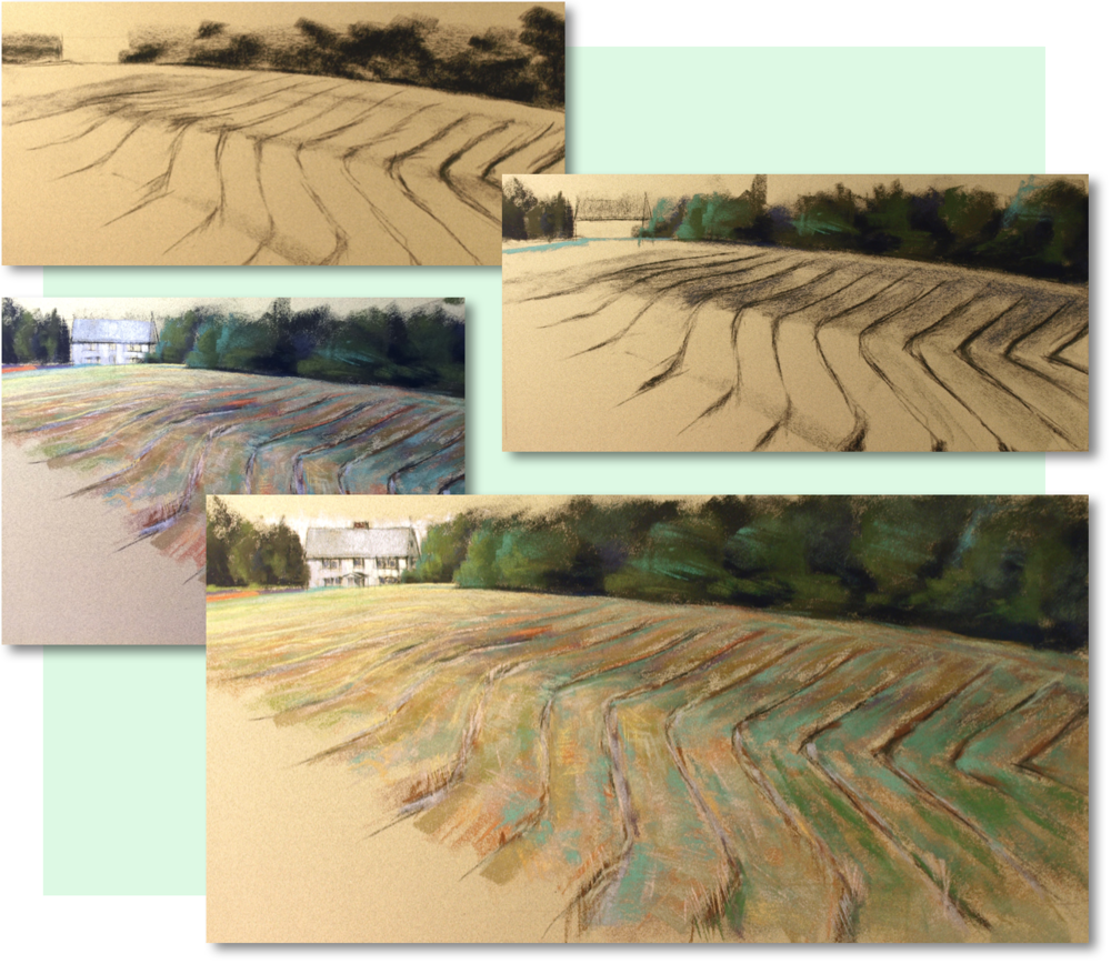 Love the topo lines of newly mown hay...from sketch to finish. 'Inside the Curve on Church Street. Weston'