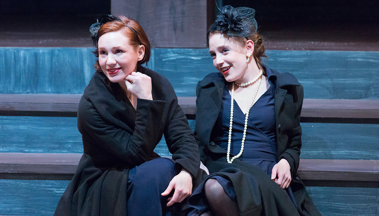 Liz Filios as Rosalind and Ruby Wolf as Celia