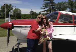 Lauren and her mom getting ready for their flight home from Toledo