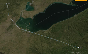 We flew from Howell, MI (near Lansing), along the south shore of Lake Erie to Butler, PA (north of Pittsburgh).    The flight time was 1:53.