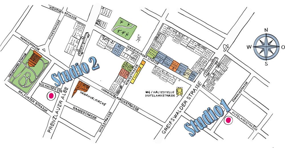 Studio 2:The Center, Mülhauser Str. 6, 10405 Berlin Studio 1:The Center, Esmarchstr. 5, 10407 Berlin