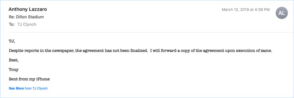 Correspondence with CRDA's Deputy Director Anthony Lazzaro.