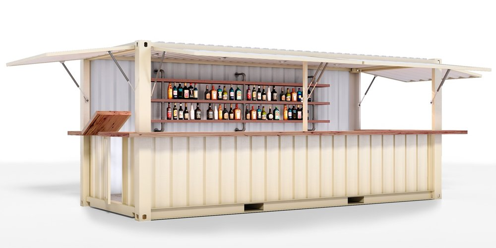 CONTAINER BAR 8 X 20 CONTAINER Top-hinged, lockable counter doors, Wood counter, Durable wood flooring, Insulation, interior & exhaust fans, Electric panel & lighting wired for plug-and-play, 6-10 weeks delivery