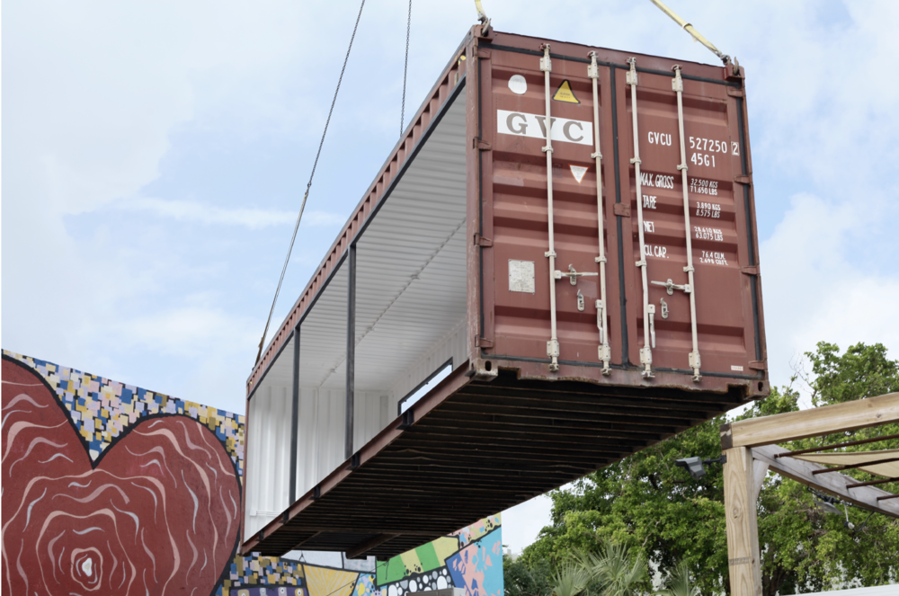 The Market container en route to its new home, The Wynwood Yard.