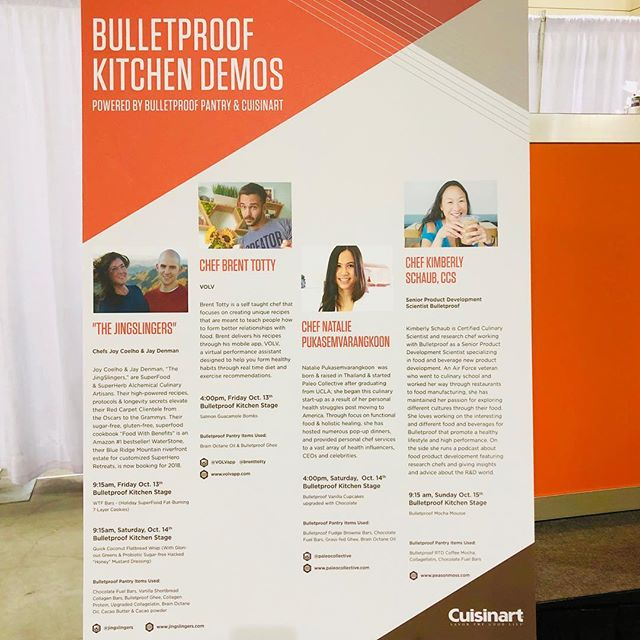 "Tomorrow we are kicking off the @Bulletproof Conference on the Culinary Stage at 9:15am! Be there or be without ""WTF?!"" 7-layer cookies! . We have SlingShots (superfood doughnut holes) for the VIPs starting at 7am at Booth # 234, and we are pounding SuperFood JingLato in the afternoon. If you are at the show, come on by!! 😋🌟 . . . . #bulletproof #bulletproofcoffee #bulletproofconference2017"
