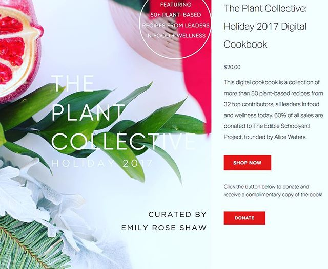 This holiday season we were honored to contribute a recipe to @the_plantcollective 's Holiday 2017 Digital Cookbook!  It's on sale now for one more week, use code: PC20 at checkout to get 20% off the digital download with over 50 seasonal, nourishing plant-based recipes!  Link is www.plantcollective.com - just copy & paste. ❤️😋