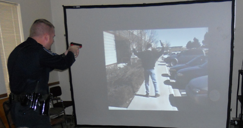 Officer using the MILO Use of Force Simulator