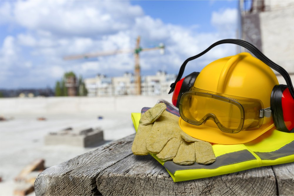 Image of safety equipment sitting in front a of work site