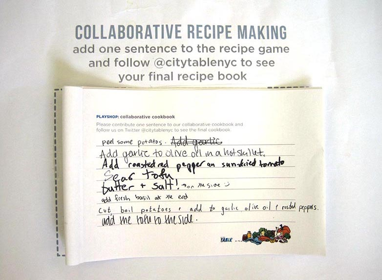 Participants contribute ingredients and techniques to a collaborative recipe book for City Table.