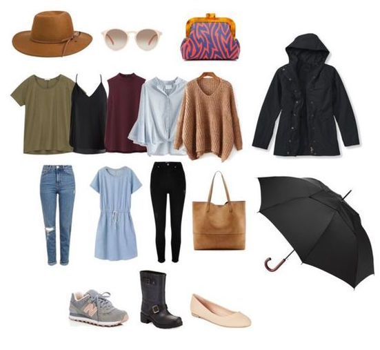1. Hat 2 .sunglasses 3. clutch 4. t-shirt 5. cami 6. tank 7. blouse 8. pullover 9. jeans 10. dress 11.black jeans 12. tote bag 13. sneakers 14. rainboots 15. flats 16. rain jacket 17. umbrella