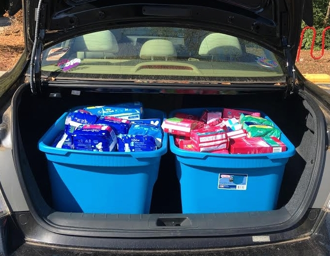 ANDI'S TRUNK FULL OF PERIOD PRODUCT DONATIONS