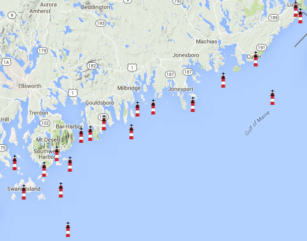 Map of Maine's lighthouses from Swans Island to Lubec