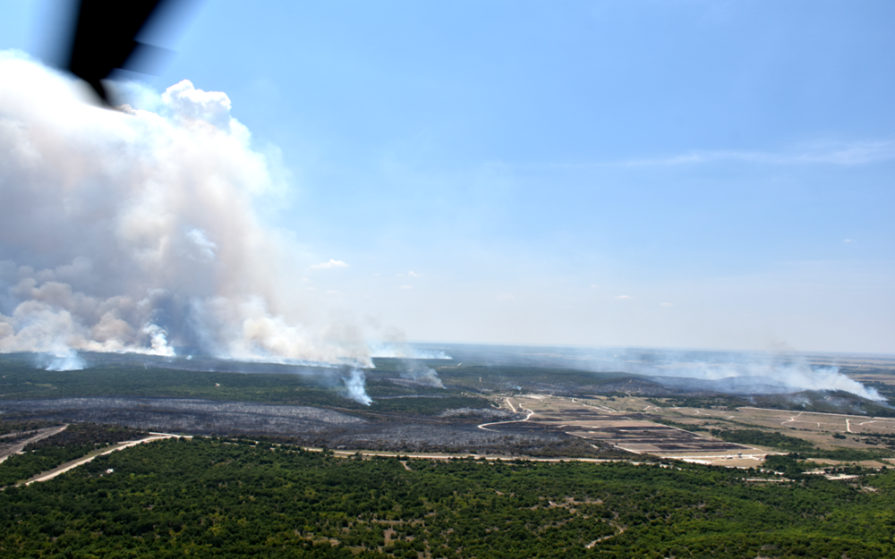 aerial view of Fort Hood with 6 wildfires active