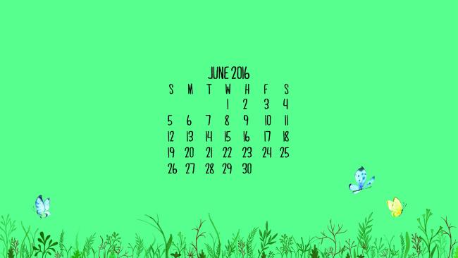 June 2016 Calendar Wallpaper - Laptop