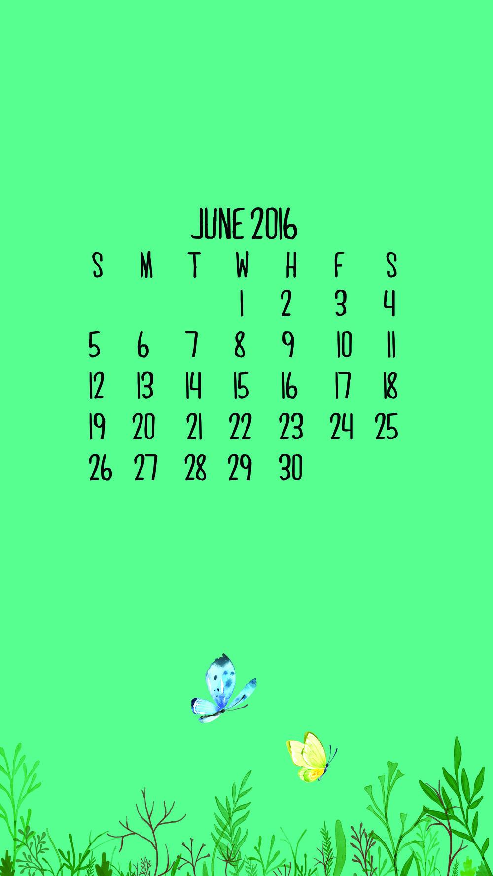 June 2016 Calendar Wallpaper - Phone