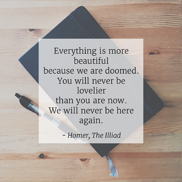 """Mentality Monday #8 """"Everything is more beautiful because we are doomed. You will never be lovelier than you are now. We will never be here again."""" - Homer, The Illiad"""