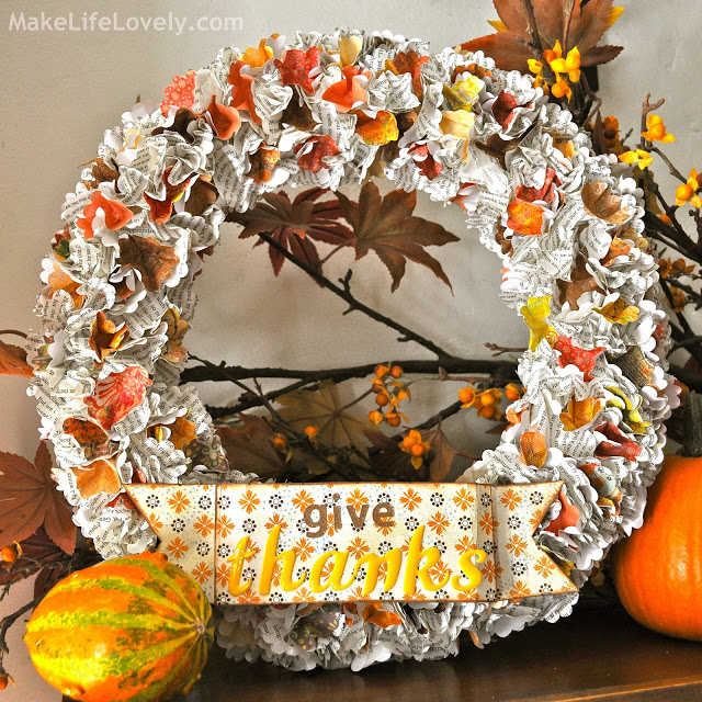 Thankful Paper Wreath - Make Life Lovely