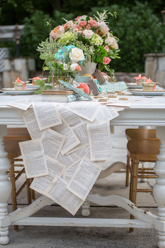 A Bookish Table Runner from The Wedding Chicks