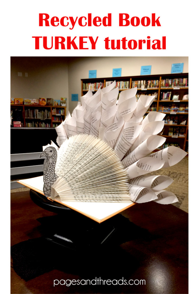 Recycled Book Turkey from Pages & Threads