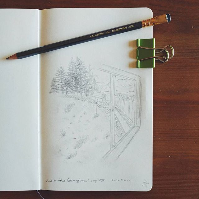 Good morning, everyone! I'm doing kid's Halloween Parties at the moment so I will post the final Inktober piece later today. But I want to share a sketch I did at the beginning of the month from our train ride on the Georgetown Loop Railroad in the Rockies ❤️ Anybody else a giant fan of Blackwing pencils? • • #instaart #artsyfame #artstagram #drawingoftheday #sketch_daily #sketchbook #blackwing #blackwing602 #blackwingpencil #moleskine #moleskinesketchbook #moleskine_arts #pencilart #pencildrawing #pencilsketch #urbansketch #georgetownlooprailroad #coloradoart #coloradoartist #denverartist #drawsomething #rebeccaryanart