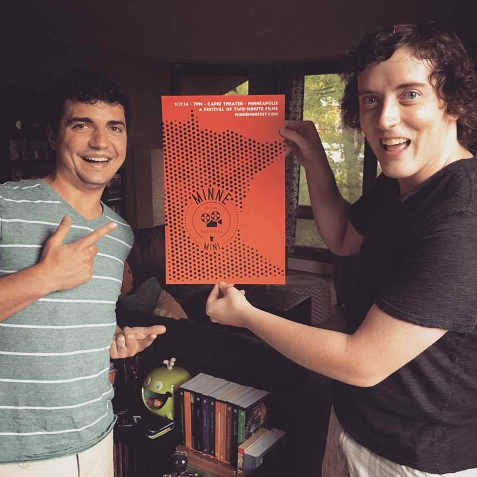 My fellow POV board members, Ben and Andrew, showing off our awesome poster designed by Joe Rapp.