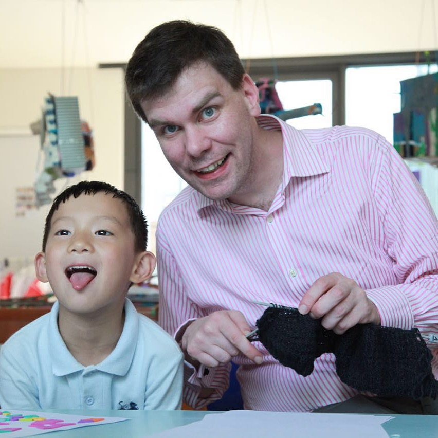 Knitting with the Children at the Western International School of Shanghai