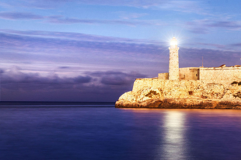 Havana Morro Lighthouse at blue hour