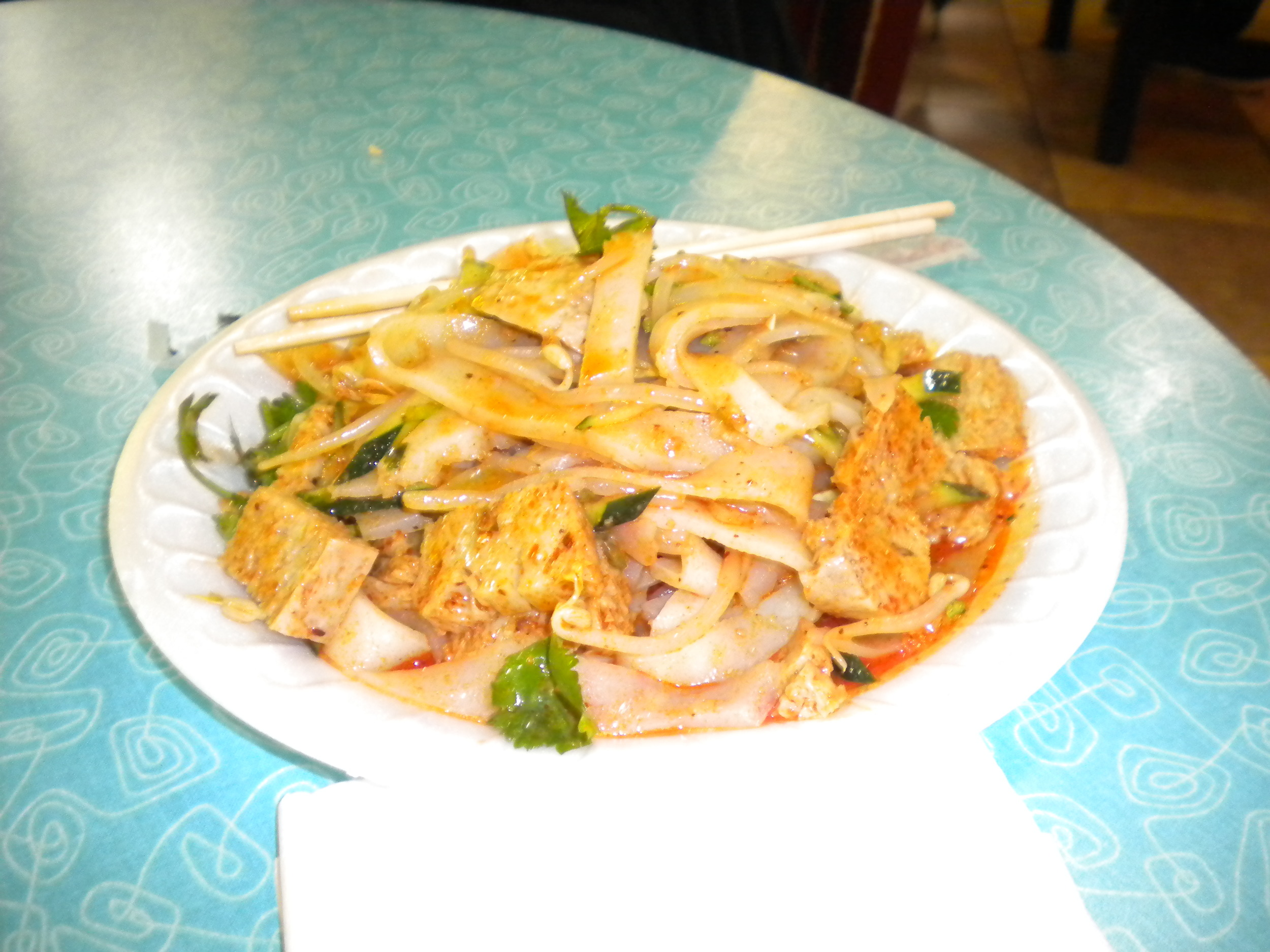 Xian noodle dish with pork and wheat germ