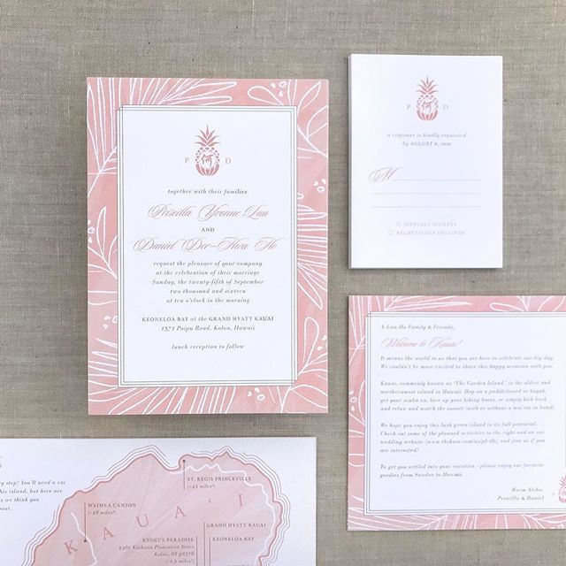 Priscilla + Daniel's summery destination wedding invitations 🍍