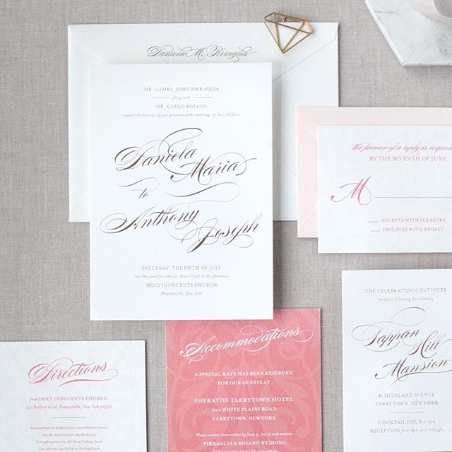 Daniela + Anthony's wedding invitations: gold foil + digital printing on cotton paper — a great way to bring in additional color to a foil suite!