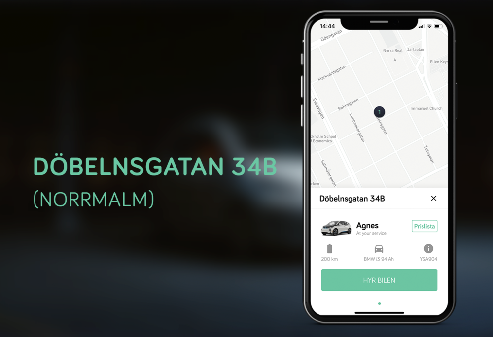 Kvarterets nya Elbil - Elbilen, BMW i3, finns i garaget på Döbelnsgatan 34B, 113 52 Stockholm