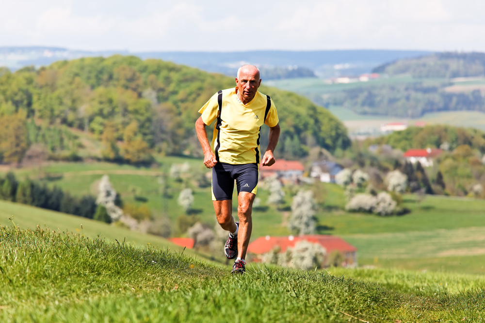 70 year old running up hill