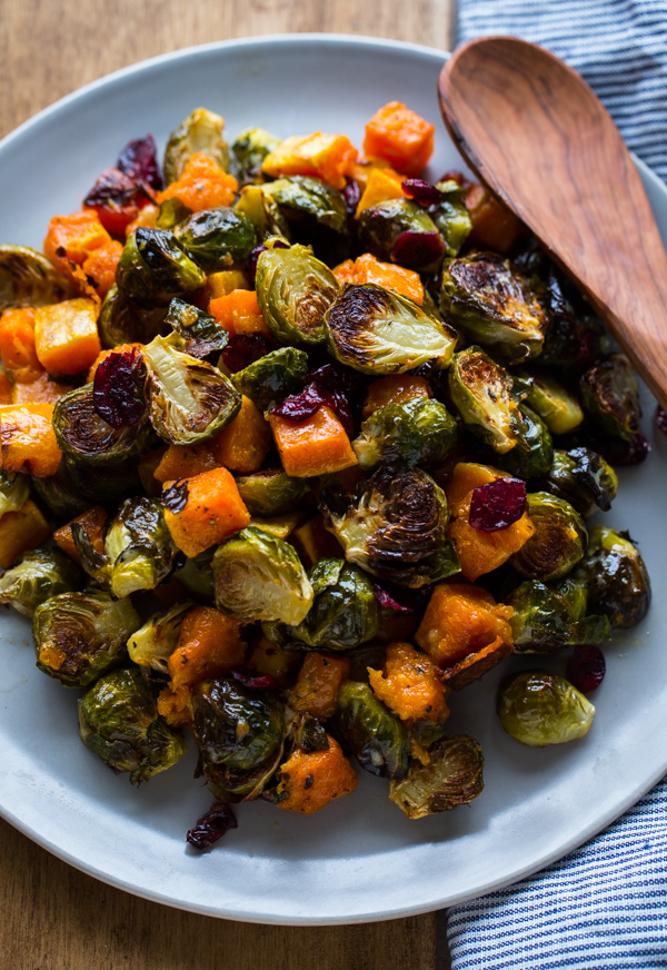 Butternut Squash and Roasted Brussels Sprouts in Dijon Vinaigrette