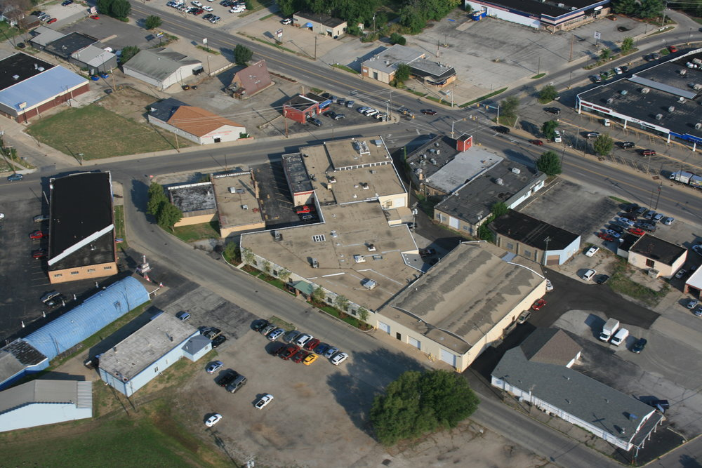 Aerial view looking northwest toward the Lexington Business Centre at 530 E. Lexington Avenue in Elkhart.