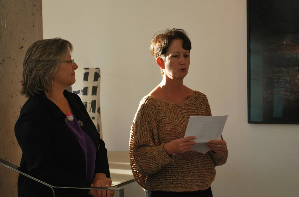 Peg Gignoux and Grey Brown speaking at Wrap's  launch party at LIGHT Art & Design
