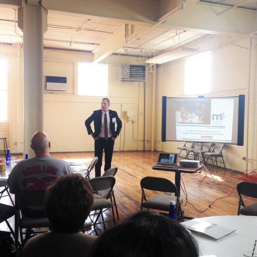 Holyoke Mayor Alex Morse speaks at the State of Youth Mentoring Forum in Hampden County.