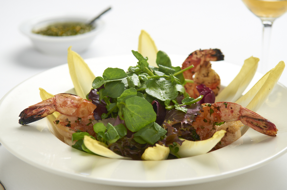 Belgian Endives, Organic Watercress, Grilled Prawns, Tomato-Chimichurri Dressing.