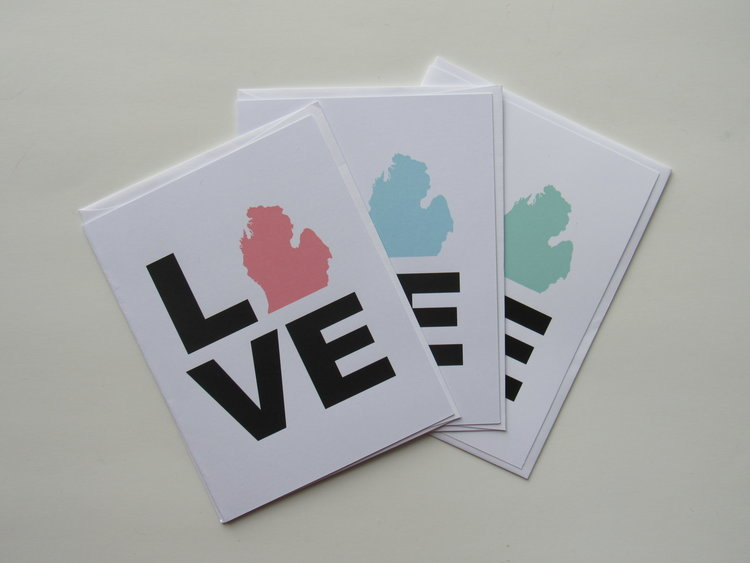 Love michigan card half mile handmade love michigan card m4hsunfo