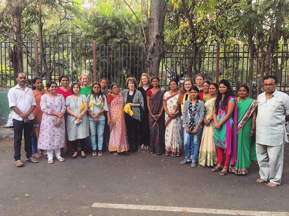 WCI President Marjorie Margolies and Executive Manager Brynn MacDougall with UPenn GSE and TISS staff, along with the members of the Resource & Support Development Centre, a local NGO that works to get women elected onto their local Panchayats in Maharashtra