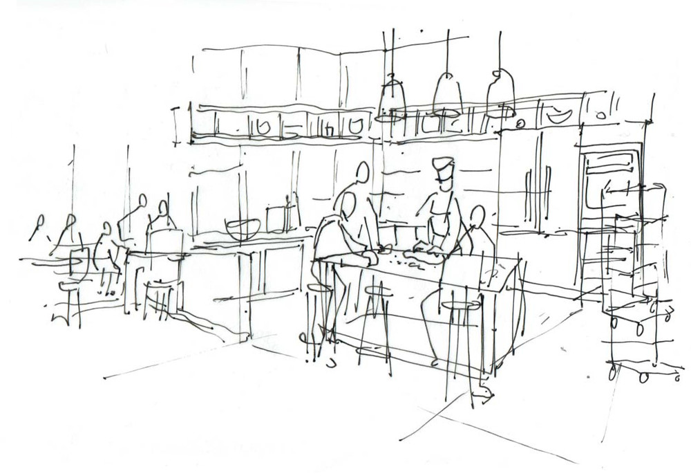 An early concept sketch of the cafe.