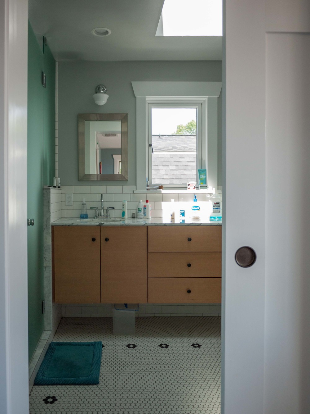 A view into the master suite bathroom.