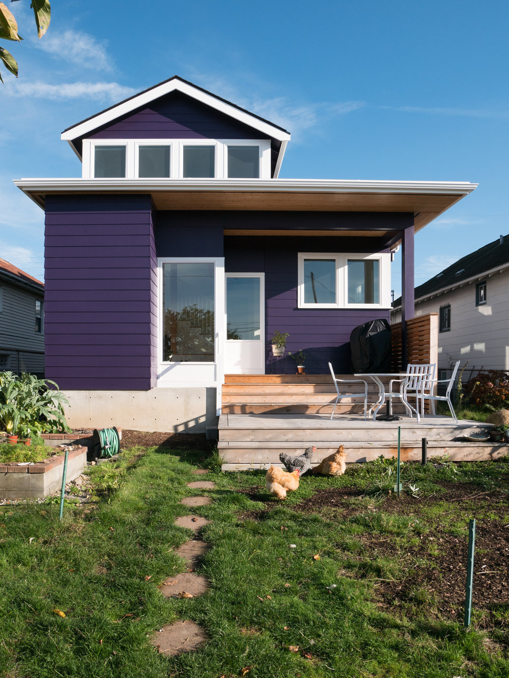 A view of the two-story addition. Connecting the house to the backyard (and its awesome chickens) was a priority.
